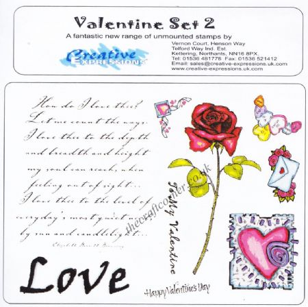 Love & Valentines Set 2 Unmounted Rubber Stamps